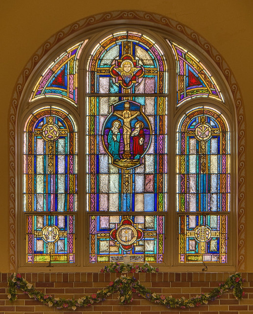 Saint Anthony Roman Catholic Church, in Lemay, Missouri, USA - stained glass window of the Crucifixion