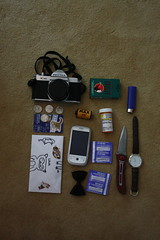 contents of my bag (MOGUE_) Tags: camera school film bag phone condoms id watch knife spirits purse american bow envelope letter what medicine lighter cigarettes quarters contents perscription lexapro