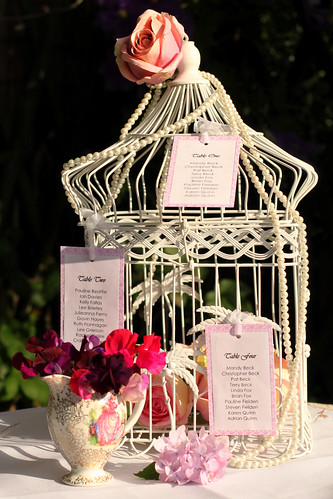 Vintage Bird Cage Used as Seating Plan