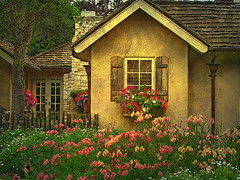 Once upon a time..... (linda yvonne) Tags: painterly shutters stucco frenchdoors ipad windowboxes abigfave abigfav infinestyle photoforge ipadography editedontheipad onceuponatimefairytalecottagestorybookhomecarmelbytheseacottagecottagegarden carmelstonefireplace