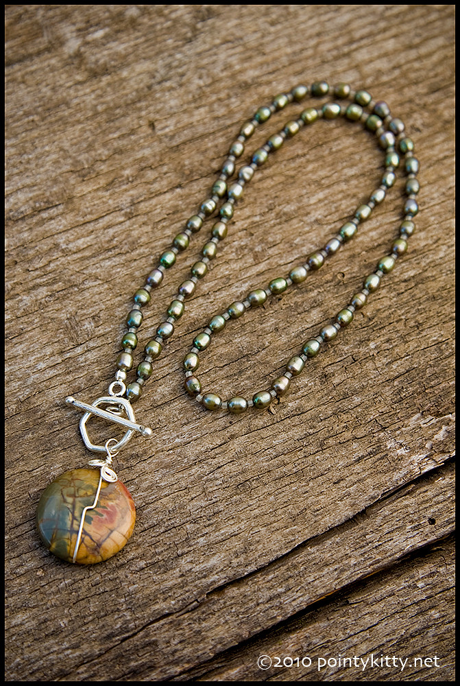 Lurk Harder - sterling, freshwater pearl and Owyhee picture jasper necklace