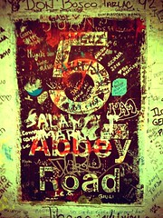 Passing Abbey Rd. (Jonathan Zurick) Tags: road camera city uk summer england london abbey john studio paul graffiti george phone britain 5 five great august number beatles 365 alter ringo recording camerabag app rd 2010 iphone londonist project365 twitter echofon