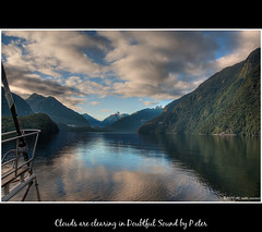 Clouds are clearing in Doubtful Sound (pDOTeter) Tags: newzealand reflection water fjord material blackwater fiord hdr doubtfulsound fiordland photomatix nikond90 photomatixhdr pinnaclephotography