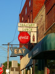 Rossville, IN Sanitary Lunch signs (army.arch) Tags: signs sign lunch restaurant indiana eat sanitary arrow cocacola magichour in rossville