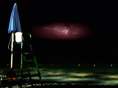 Lightning on a deserted beach