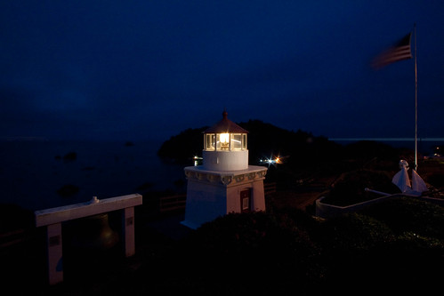 Trinidad Lighthouse at night