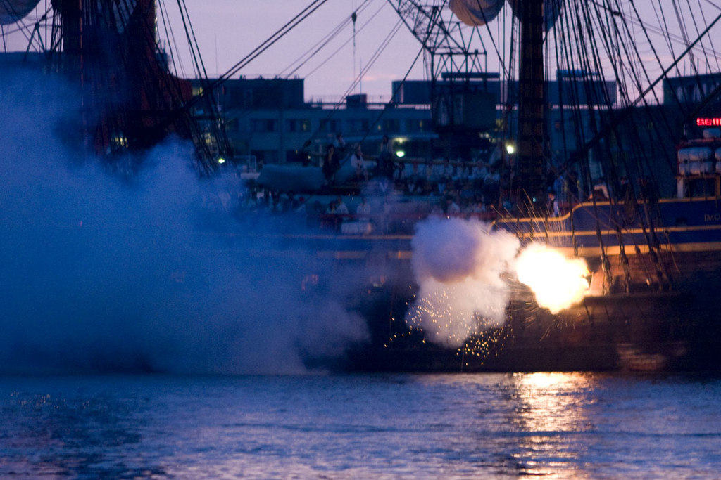 sailing ship fire smoke - photo #14