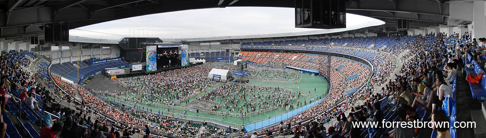 Panorama of the Marine Stadium at the 2010 Summer Sonic Music Festival.