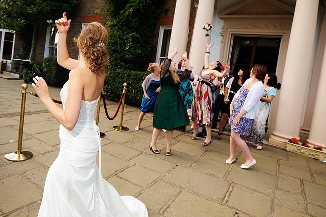 Jen throwing her bouquet