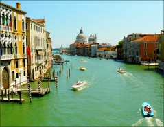 Tribute to Canaletto -View from the Ponte Accademia (jackfre2 (on a trip-voyage-reis-reise)) Tags: venice houses homes summer italy water boats canal grande emerald palaces canalgrande santamariadelsalute thegalaxy estacades ponteaccademia mooringpoles colorphotoaward vaporettos tripleniceshot mygearandmepremium mygearandmebronze mygearandmesilver mygearandmegold