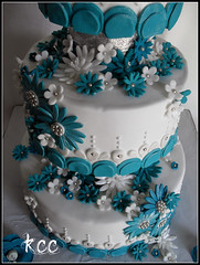 Teal and White Daisy Wedding Cake (Kara's Custom Cakes) Tags: flowers blue wedding white sparkles glitter silver beads teal weddingcake diamond daisy teardrop gumpasteflowers princesscake dragees fondantflowers fantasyflower fondantdaisy gumpastedaisy princessthemedwedding