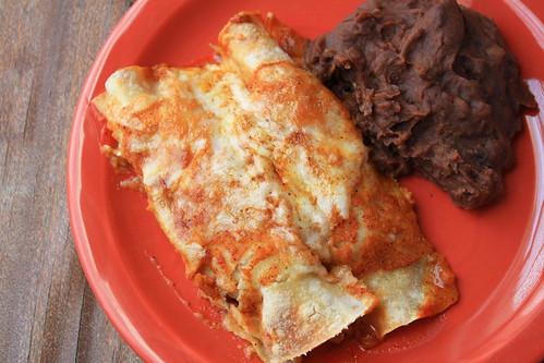 Pork Enchiladas w/ Refried Black Beans