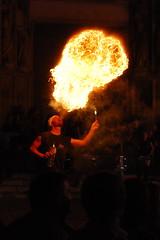 Spitting Fire (<DXR>) Tags: night danger fire 50mm spain flame heat catalunya petrol nikkor castello spitting 18d dempuries