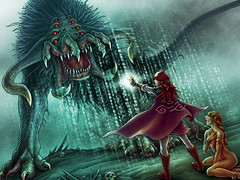 You Shall Not Pass! (2010) (hinxlinx) Tags: illustration behemoth triclops hinxlinx digitalart fantasyart femalecharacter monsterart creatureart damselindistress 軒 elynx ericlynxlin magicbarrier magicalbarrier