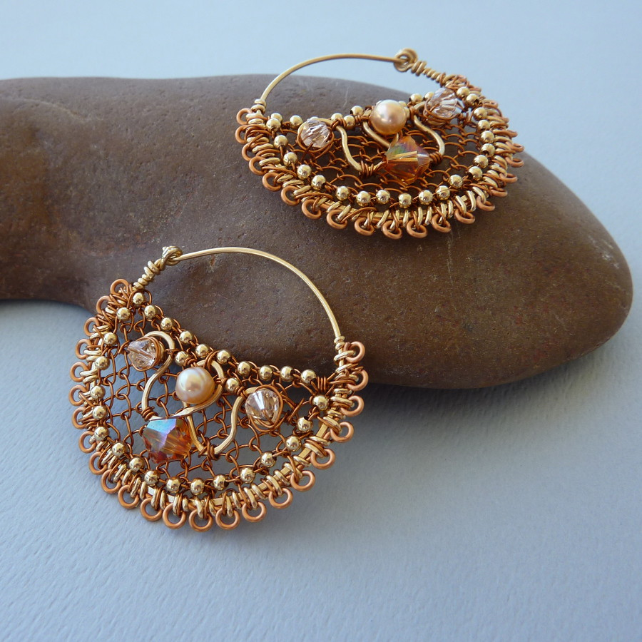 Gold and Copper Tribal Hoop Earrings