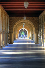 Late for Class (Jill Clardy) Tags: ca point university quad stanford 100views 1025 vanishing palo alto hdr colonnade 1024 1026 photomatix