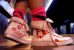 Harajuku Lovers (Georgie_grrl) Tags: pink red white selfportrait toronto ontario cute feet me socks bench hearts fun japanese shoes downtown sitting angle pov ttc perspective moi hightops transit commute runners selfie onmywaytowork lipstickmarks newsneakers harajukulovers smoochies veryme kingsubwaystation zebrastriped makeoutcity oxoxoxo mydarkpinkside samsungd760 gettingthelowdown