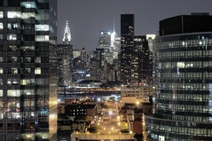 Rodrigo's View, Long Island City, New York City (andrew c mace) Tags: city nyc newyorkcity longexposure roof newyork rooftop skyline night cityscape manhattan midtown queens eastriver trumptower chryslerbuilding longislandcity metlifebuilding newyorkatnight citibuilding courthousesquare photomatix nikkor70300mm colorefex 44thdr nikoncapturenx nikond90