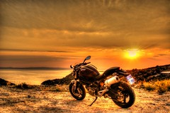 The Sun is setting, the Monster is rising... (TrippinOn) Tags: sunset sea summer sun beach beautiful beauty bike monster naked greece macedonia porto motorcycle biker ducati hdr chalkidiki 696 koufo bicylinder