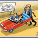 Meles Zenawi pushing a car without back wheels