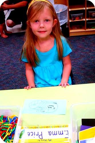 at her desk