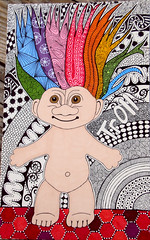 Troll6 (A-dab-adu) Tags: art moleskine hair drawing troll doodles markers rainbowcolors sketchbookproject zentangles