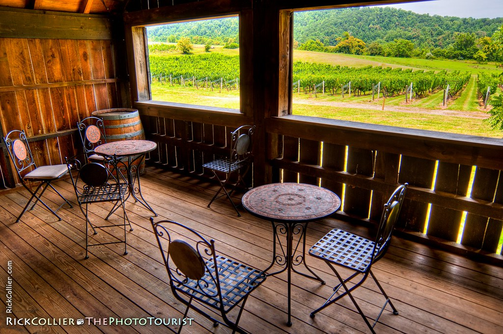 HDR of the shady porch at the Sharp Rock winery, overlooking their vineyards