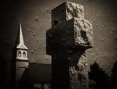 Stone and Steeple (Dave Linscheid) Tags: texture minnesota rural faith religion tombstone christian gravestone jesuschrist