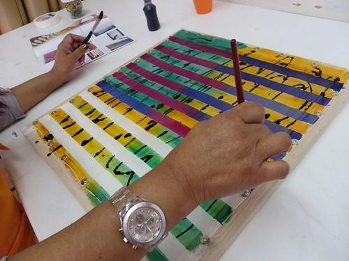 Pintura em Seda - Técnica Listrado com Grafismo by Atelier Mônica de Godoi