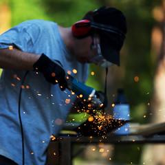 Sparks (Timo Vehviläinen) Tags: work dof bokeh working shovel sparks 135mm ratchet panu canonef135mmf2l