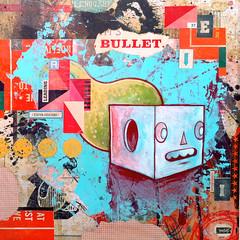 Bullet (rikcat) Tags: art collage illustration painting artwork paint artist acrylic urbanart popart rik lowbrow 2010 popsurrealism catlow rikcat pervasiveart urbanpopart rikcatcom