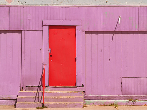 red door purple wall