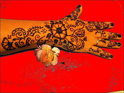 henna tattoo hand and arm