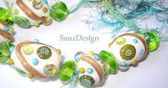 DSC04900 (SuuzDesign) Tags: paris green glass set garden fun gold beads colorful bright handmade ivory funky bead lampwork artisan sra suuz aventurine goldstone murrini suuzdesign