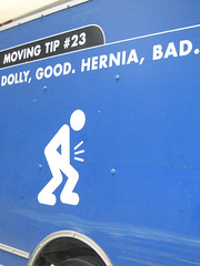 Ow! That hurts... (Carbon Arc) Tags: truck budget rental safety stickfiguresinperil stickfigure rent van dolly peril hernia dollygoodherniabad