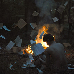 The book burning. (alexstoddard) Tags: fire book fly woods pages smoke flames read burning novel destroy