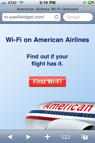 American Airlines Wifi Widget on iPhone