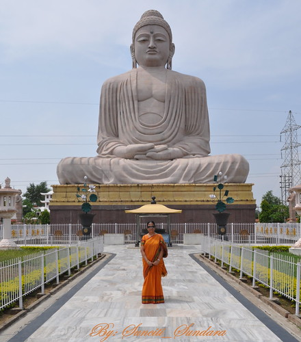 The giant marble statue of Buddha in deep meditation at Bodh Gaya