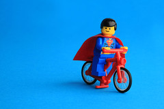 Just off for my daily cycle (Debbie Hickey) Tags: macro building canon studio toys lego background bricks 100mm superman dh 5d series blocks setup minifigs bg lightbox clarkkent legoland afol dailyplanet minifigures backgroundcolour debbiehickey