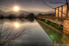 Sonnenuntergang am Inn (alpenbild.de) Tags: bridge sunset water river bayern bavaria mirror inn wasser