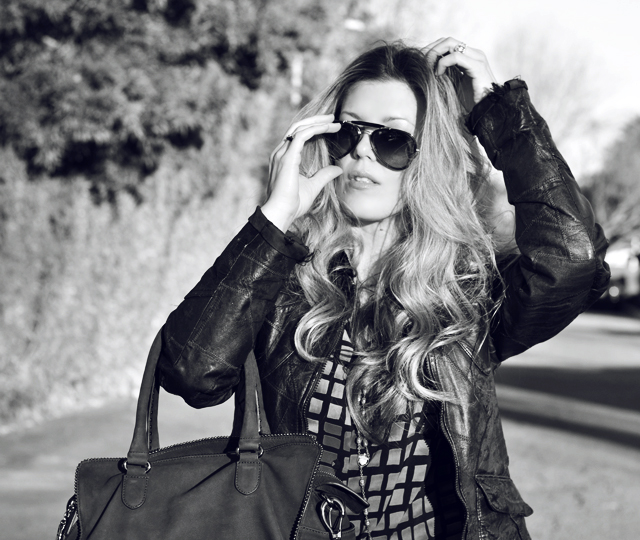 black and white photo, ray bans, aviator sunglasses, waved blonde hair, DSC_0177