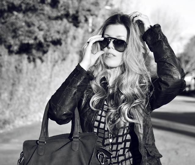 black and white photo, ray bans, aviator sunglasses, waved blonde hair, DSC_0177