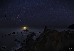 The Dawn Treader (Ben Canales) Tags: ocean longexposure beach water night oregon dark stars star coast waves ben trail shore pacificnorthwest oregoncoast starry canales bencanales thestartrail