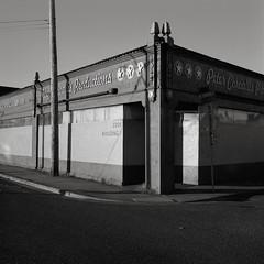 Portland (austin granger) Tags: portland oregon petercorvallisproductions corner sunset sidewalk sign stars film square gf670