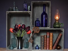 Bottles & Books (memoryweaver) Tags: kerosene paraffin lamp oillamp bottles glass old vintage leatherbound antiquarian books stilllife crates flowers tulips memoryweaver