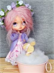 Bambi's bath time! (Pliash) Tags: dal doll custom madeleine dolls madeleinedolls madeleinedollies dollies pink hair mohair bambi cute animal felt plushie bath time flowers pinocchio
