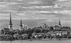 Tallin waterfront (Clive1945) Tags: cruise tallin d7100 cityscape sea clouds mono bw tower church