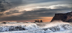 Trolls & White Horses (Jerry Fryer) Tags: arctic iceland vik beach coast shore waves white horses spray clouds sky golden hour canon 5dmk2 ef25105mmf4l littlepigs wolves fairytales panorama