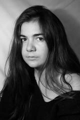 Portraits (alexandriacasella) Tags: wavyhair blackandwhite portrait womanportrait messyhair shadows
