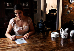 letter to a friend (AnnuskA  - AnnA Theodora) Tags: china wood light selfportrait breasts antique stuff letter romantic expensive chiaroscuro porcelain dedicatedphoto thisphotowastakenatanantiquesstore